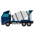 Blue Concrete Mixer Truck Flat style vector image vector image