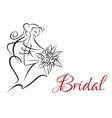 Bridal invitation template with pretty bride vector image vector image