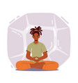 calm woman practicing yoga meditation in lotus vector image