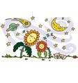 colourful drawing cute sleeping sun vector image vector image