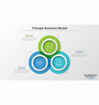 concept of triangle business model with 3 options vector image vector image