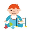cute baby boy sitting with abacus and puzzles vector image