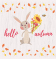 cute cartoon bunny card vector image vector image