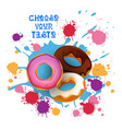 donut colorful dessert icon choose your taste cafe vector image vector image