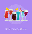 drink for any choice poster summer cocktails set vector image