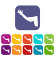 flabby arm cosmetic correction icons set flat vector image vector image