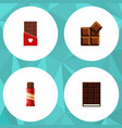 flat icon cacao set of sweet cocoa chocolate and vector image vector image