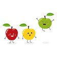 funny cartoon apples vector image vector image
