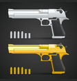 gold and silver gun vector image