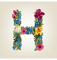 H letter Flower capital alphabet Colorful font vector image