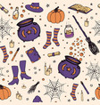 halloween pattern with pumpkin witch hat outline vector image