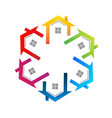 houses team circle group real estate logo vector image vector image