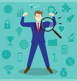 magnifying glass enlarges arm of businessman vector image vector image