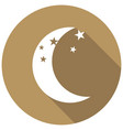 moon icon with a long shadow vector image