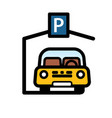 passenger car parked in covered parking space vector image vector image