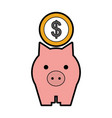 piggy savings with coins vector image vector image