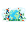planet ecology concept people taking care of vector image
