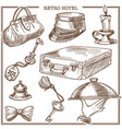 Retro hotel guest travel items and service staff vector image