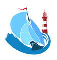 sailboat on the water and a lighthouse vector image vector image