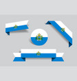 san marino flag stickers and labels vector image