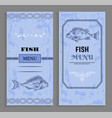seafood menu with linear silhouettes of fish vector image vector image