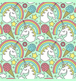 seamless pattern with unicorn and rainbow vector image vector image
