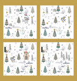 set of cute winter trees seamless pattern on white vector image