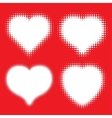 set white hearts halftone icons vector image vector image