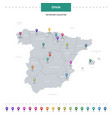 spain map with location pointer marks infographic vector image vector image
