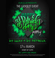 st patricks day party poster with lettering vector image vector image