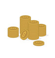 stacks gold coins on white background vector image