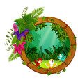three bird on round wood frame with forest scene vector image vector image