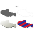 Tibet outline map set - Tibetan version vector image vector image