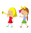 two little girls marching with trumpet and flag vector image