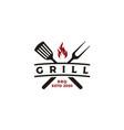 vintage grill barbecue logo design vector image vector image