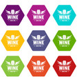 wine barrel icons set 9 vector image vector image