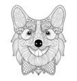 Zentangle Welsh Corgi with bow tie in monochrome vector image vector image