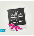 Photo frame with cute pink bow isolated vector image