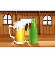 A beer and a bottle of softdrink at the table vector image vector image