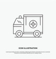 ambulance truck medical help van icon line gray vector image vector image