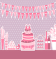 Baby shower and sweets on the table vector image