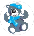 Bear with snowflake color 01 vector image vector image