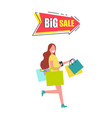 big sale arrow pointer with woman carrying bags vector image vector image