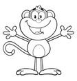 black and white happy monkey cartoon character vector image vector image