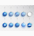 blue christmas balls set with different vector image vector image
