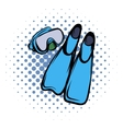 Blue flippers comics icon vector image vector image