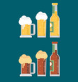 bottle of beer with glass flat design modern vector image vector image
