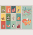 calendar 2020 with animals cute forest vector image vector image