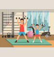 cartoon father and son go in for sports vector image vector image