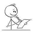 cartoon smiling man or businessman writing on vector image vector image